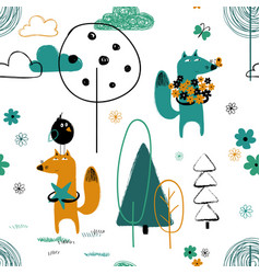 seamless pattern with funny fox vector image