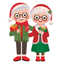 Senior married couple with Christmas gifts vector image