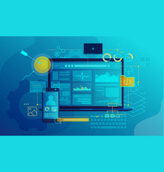 seo software interface flat vector image