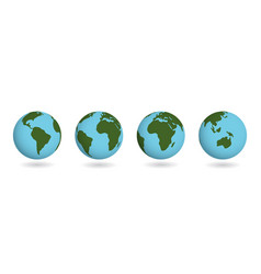 set earth planet atlas countries on sphere vector image