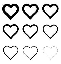 set heart shape icons symbol love vector image