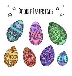 set of colorful festive doodle eggs with boho vector image