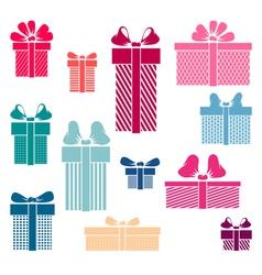 Set of coloured gift box symbols vector image