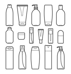 Set of cosmetic bottles line style icons vector