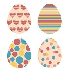 Set of decorative Easter eggs in retro colors vector image