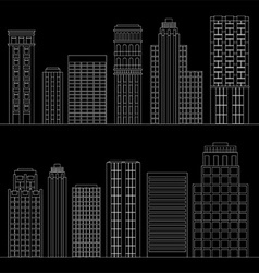 Set of line skyscrapers Black and white vector image