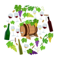 set of wine icons in circle shape background vector image
