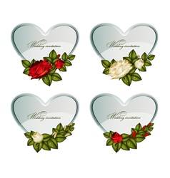 Set silver cards heart decorated roses vector