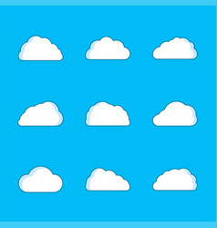 set white clouds with shadow vector image