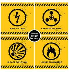 set yellow grunge danger banners vector image