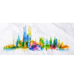 Silhouette overlay city vector