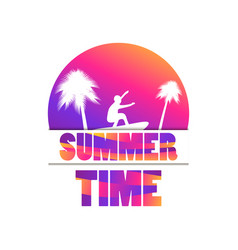 summer time banner with palm trees and a surfer vector image