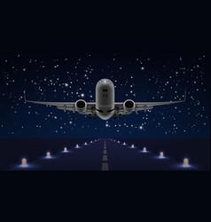 take off airplane in night sky end dark runway vector image