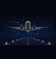 take off airplane in the night sky end dark runway vector image