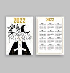 Tarot calendar for 2022 meditating woman with sun vector