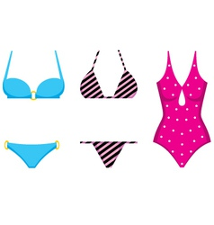 Three swimming suits vector image
