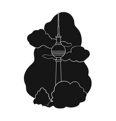tower single icon in black styletower vector image