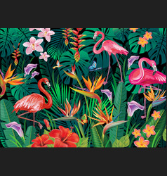 tropical background from tropical flowers and vector image