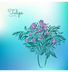 Tulips in vase vector