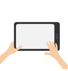 two hands holding genering tablet pc gadget vector image