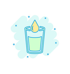 water glass icon in comic style soda glass vector image