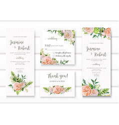 Wedding invitation floral invite card with pink vector