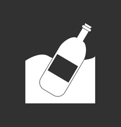 White icon on black background bottle vector
