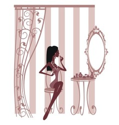 Woman looking at mirror and painting her lips vector image vector image