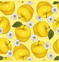 Yellow seamless pattern with apples and flowers vector