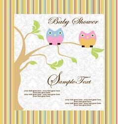 cute cartoon owls birth vector image vector image