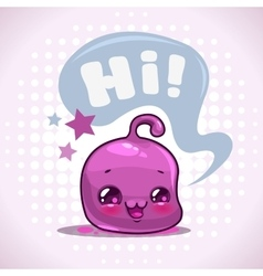 Funny cartoon little purple kawaii character vector image