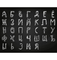 Hand drawn doodle cyrillic alphabet chalk on board vector image