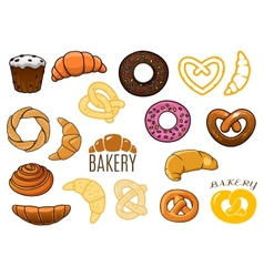 Outlined and cartooned buns cake croissants donuts vector image vector image