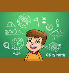 school boy write geography sign object in school vector image