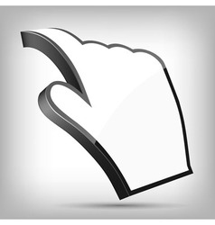 3D Curled Cursor Hand Pointer vector image vector image