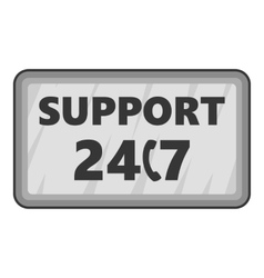 All-day client support icon gray monochrome style vector
