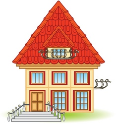 cartoon house with balcony vector image