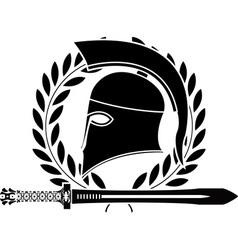 Fantasy hellenic sword and helmet vector
