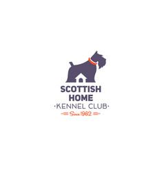 scottish terrier club logo vector image