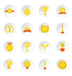 Trophy award icons set cartoon style vector image vector image