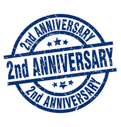 2nd anniversary blue round grunge stamp vector image vector image