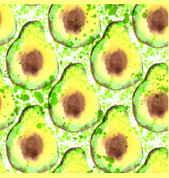 avocado slice seamless pattern with splashes vector image vector image