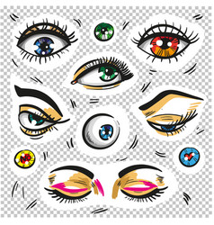 eyes fashion stickers patch badges isolated vector image vector image