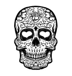 hand drawn sugar skull isolated on white vector image