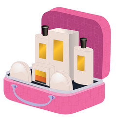 pink suitcase with perfume and cosmetics inside vector image vector image