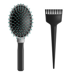 realistic detailed plastic brush set vector image vector image