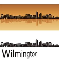 Wilmington skyline in orange background vector image