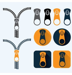 zipper and icons set flat design vector image