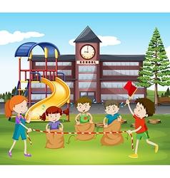 Children jumping sacks at school vector image vector image
