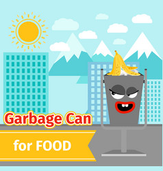 Food trash can with monster face vector